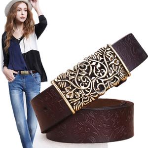 Echtes Rindsleder Für Geschnitzte Design Retro Metall Frauen Strap Cintos Ceinture Weibliche Hohe Qualität Gürtel C19041101