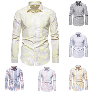 SZMXSS Shirts For Men Casual Slim Fit Striped Social Long Sleeve Clothing Business Dress Male Shirts Classic Button Tops