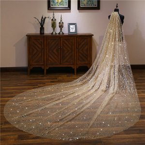 Luxurious Bling Bling Sequins Cathedral Train Bridal Veil Long 3.5m Long 5m Long Bride's Head Veil Top Sale