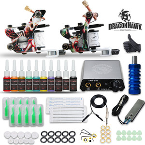 Dragonhawk Complete Tattoo Kit 2 Guns 10 Color inks Power supply D175GD-17 for beginner best price