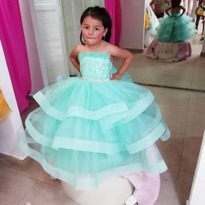 Newest Sheer Neck Flower Girls' Dresses for Weddings Beaded Sash Bow Tiered Tulle Princess Party Communion Dress