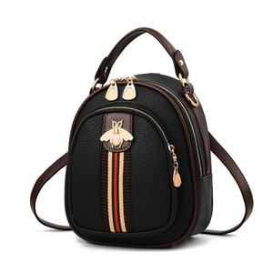 2019 New Girl's Bag Small Bee Ribbon Hit Color Small Round Bag Estudiante Mochila Pure Women Summer Bag Lovely Girl Mochila J190627