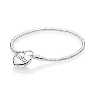 2019 NEW 100% 925 Sterlingsilber 597.806 MOMENTS glattes Armband mit Loved Herz Vorhängeschloss Haken Pandora Charm Original-Schmuck-Set Geschenk