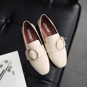 Sexy2019 Lexuan Women's One Pedal Small Leather Shoes Round Buckle Flat Bottom England Wind Single Dawdler Shoe