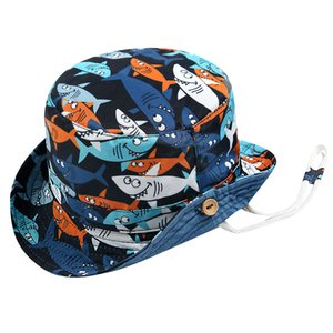 Summer Baby Hat 6M-5Y Baby Boy Girl Kids Children Shark Print Beach Sun Fisherman Hat Cap Cotton Outdoor Bucket Hats