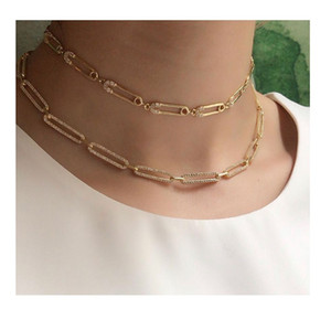 2019 yılbaşı hediyesi benzersiz kadınlar takı Altın dolu mikro cz emniyet pimi bağlantı zinciri gerdanlık kolye 32 + 10cm seksi tabaka açacağı