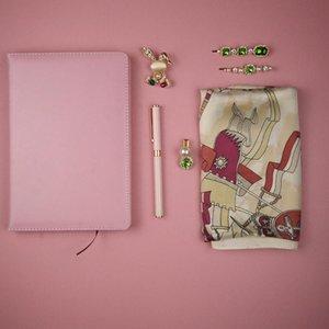 Çocuk Bayramı Doğum Günü Hediyesi için Notebook Kalemler Setleri Pembe lüks atkı Kadınlar Benzersiz Eşarp Hediye Seti