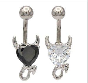 Acciaio inossidabile 316L Garnet Zircon del cuore di cristallo Devil tasto di pancia dell'anello dei monili di Piercing Nombril Ombligo corpo