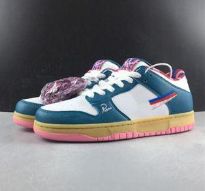 2019 Parra X SB Dunk Low OG Artist Nueva marca Blanco Verde Rosa Parra Resumen Running Diseñador Entrenador Street Man Womans Sneaker