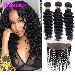 M бразильского человеческих волос Deep Wave 3 Связка С 13x4 Lace фронтального Free Часть Deep завитого Virgin утками волос С 13 К 4 Fronta