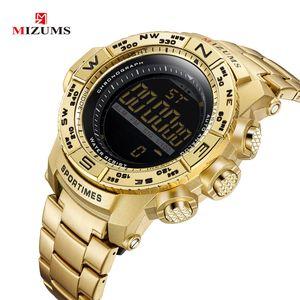 Mizums Chronograph Mens orologi uomo LED orologio digitale per gli uomini Allarme impermeabile Sport Reloj Hombre Gold Acciaio Inox Band Maschio Orologio maschile Nuovo