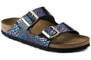 Diversos colores de piel genuina informal Zapatillas Hombres Mujeres plana zapatos sandalias con hebilla Marca famosa playa del verano de alta calidad con shoesBox