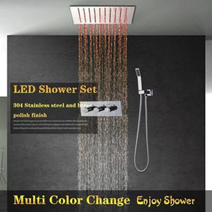 Chuveiro do banheiro torneira de 12 polegada LEVOU teto recesso Rain Shower Panel eletricidade power led light up Chuveiro multi cor mudança