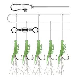 6 Satz 6 Größe Luminous Angelhaken für Swivel Angeln String Haken Fischhaut Fischgeruch Pesca Kombination String Haken