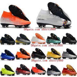 2019 erkek futbol ayakkabıları Mercurial Superfly VI 360 LVL UP Elite SG AC yüksek ayak bileği futbol cleats CR7 futbol ayakkab ...