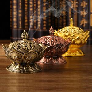 Encens en alliage de zinc Encensoir Bouddha chinois Titulaire Lotus Flower bois de santal encensoir pour Office Accueil Teahouse utilisation Home Decor DLH207
