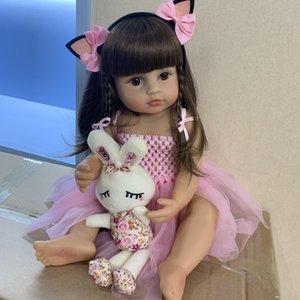 55CM الحجم الحقيقي الأصل NPK بيبي دمية تولد من جديد طفل فتاة الأميرة الوردي لعبة حمام الجسم جدا الكامل لينة سيليكون دمية فتاة سوربريسي