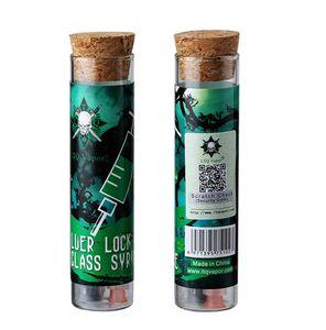 vape 1.0ml jeringa de vidrio luer lock / slip con aguja con escala Vape aceite de llenado de almacenamiento con tubo de vidrio envoltura de corcho