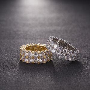 7-12 plata del oro anillos de color plateado Micro pavimentada 2 Fila Tenis Anillos circón Hip Hop Ring Finger Hombres Mujeres