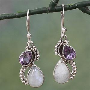 Retro Topaz Earrings diamond Water Drop Spiral Flower Earring women earrings Ear ring fashion jewelry will and sandy gift