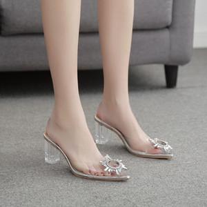 Heißer Verkaufs-freier transparenter Fetisch Luxuxentwerfer Frau Extreme Mules Super High Heels Frauen sexy Schuhe Damen Pumps Sandalen