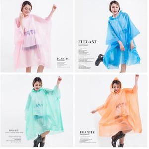 PEVA Imperméables non-jetable épaissie manteau solide manteau de pluie E-Friendly poncho imperméable Raincoat extérieure Voyage longue Rainwear LJJA3839