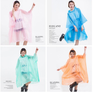 PEVA Raincoats Non-disposable Thickened Solid cloak Rain coat E-Friendly poncho Waterproof Raincoat Outdoor Travel Long Rainwear LJJA3839