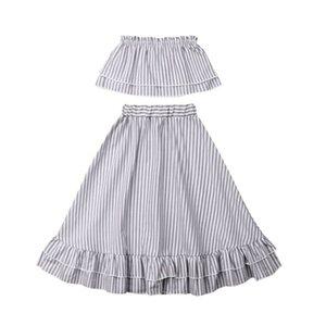 Moda para niños baberos para bebés Chica 2pcs volante rayado sin tirantes Tops fiesta de la princesa suave faldas traje verano de los niños juego de ropa