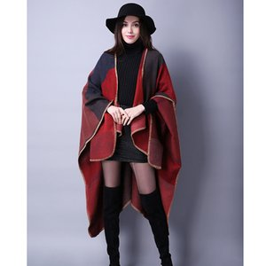 Fall winter scarf Joker Plaid ladies travel shawl cashmere-like European and American foreign trade national wind split thick cloak