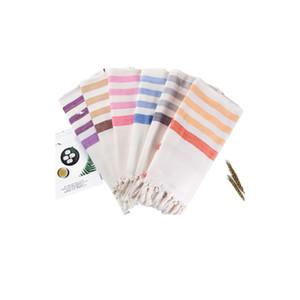 Turkey Beach Towels With Tassels Orange Purple Stripe Shawl Tuba Soft Popular Foldable Household Hotel Adult New Towel 24rjD1