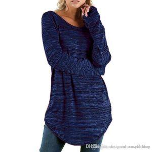 Designer Femmes T-shirts Automne Solid Slim Fit O Neck Spring Automne manches longues Hauts Vêtements Vestidoes