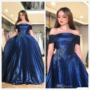 2020 Abiti arabo Aso Ebi Navy Blue sera poco costoso bordato merletto Prom Dresses taffettà sexy del partito abiti convenzionali vesti de soiree