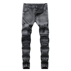 Pop2019 Foreign Trade Cross Border Male European Men's Snow Bound Feet Slim Holes Locomotive Fold Jeans