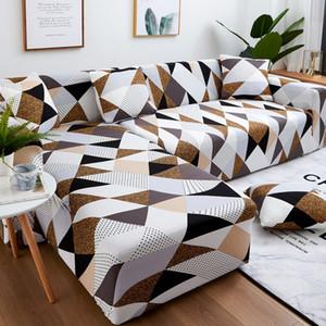 Sofa Set géométrique Canapé Couverture élastique Canapé pour la vie Les animaux domestiques coin en L Méridienne