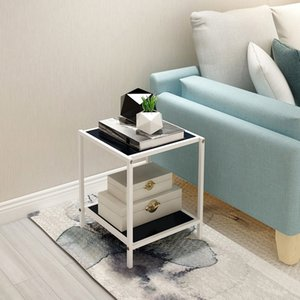 DUMEE 2 Tier End Table Metal Coffee Tables set Modern Indoor Plant Stand Minimalist Rounded Edge Design Prevents Potential Injuries