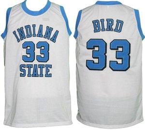 인디애나 주립 라이트 대학 래리 버드 # 33 화이트 레트로 농구 저지 남성의 스티치 사용자 설정 숫자 이름 유니폼