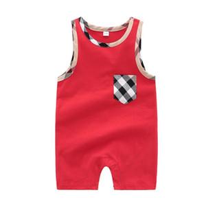 Verano recién nacido Baby Boy mamelucos chaleco de manga corta mono mameluco niño recién nacido 0-24M 100% algodón conjunto de ropa de pijamas