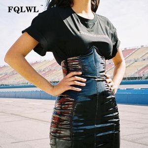 FQLWL Faxu Latex Pu Couro Saia Mulher Para Zipper Preto / cintura alta / lápis saias Womens Outono Enrole Sexy Mini Saia Feminino Y200704