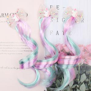 3шт / серия клип Дети косичками волос для девочек Блестящий Блеск Unicorn / Star / волос Банты Заколки Красочные парик волос