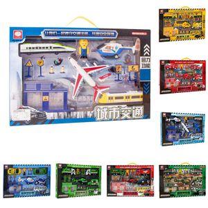 Grande Ingegneria macchinine per bambini Gift Pack giocattolo educativo Ingegneria auto costruzione Boy Military Car Scene Fuoco Model Car