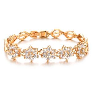Squisito 3A romano zircone Bracciale 18k rame placcato in oro Bigiotteria braccialetto Handmade