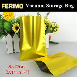 """100шт 8x12cm (3.1 """"x4. 7"""") 180micron Small Gold Aluminum Foil Open Top Bag влагостойкий Термосвариваемый пищевой золотой упаковочный мешок"""