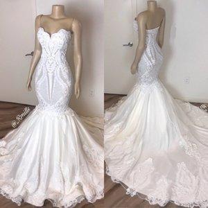 2020 Простой 3D кружева аппликация Свадебные платья без бретелек Русалка Свадебные платья плюс размер Backless богемный свадебное платье