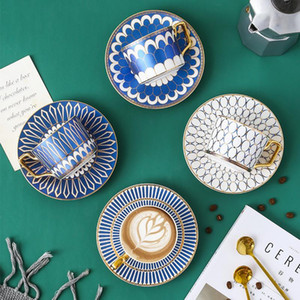 Estilo britânico de luxo marroquina copo de café e pires Set com ouro Handel Cerâmica 250ml Cappuccino Afternoon Tea Cup