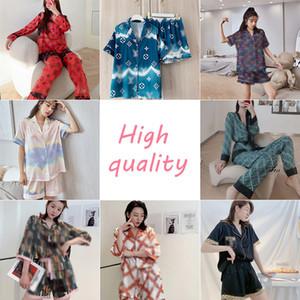 Luxe G 2 pièces-costume Pyjama Mode Femmes Respirant Pyjama minces filles soie Accueil vêtements d'été classique doux Nightclothes