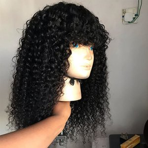 Ishow 1b 4 27 Ombre Color Kinky Curly Human Hair Wigs with Bangs Peruvian Curly None Lace Wigs Indian Malaysian for Black Women