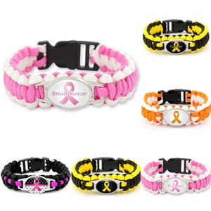 20pc Hope Fighter Ribbon Breast Cancer Cure Childhood Brain Cancer Down Syndrome Awareness Paracord Survival Friendship Bracelet
