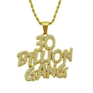 Mens Hip Hop Jewelry oro collana in argento torto modo della catena della corda di personalità alfabeto inglese Lettera 30 Billon Gang collane del pendente