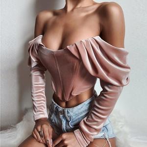 Terciopelo de la blusa de las mujeres del otoño del vintage de manga larga con pliegues del hombro del corsé del estilo remata invierno de las señoras camisa atractiva T200321