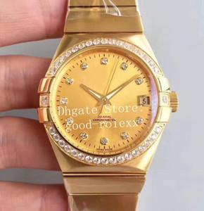 38mm lujo de tamaño mediano Unisex reloj automático para hombre 8501 relojes mecánicos de los hombres de oro del diamante del bisel axial Fecha profesionales Terra de pulsera